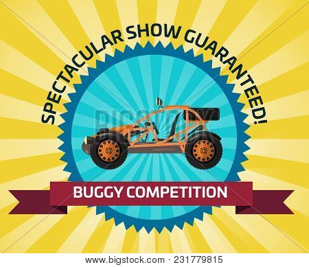 Off Road Buggy Car Competition Banner Illustration. Outdoor Auto Racing, Extreme Terrain Vehicle Spo