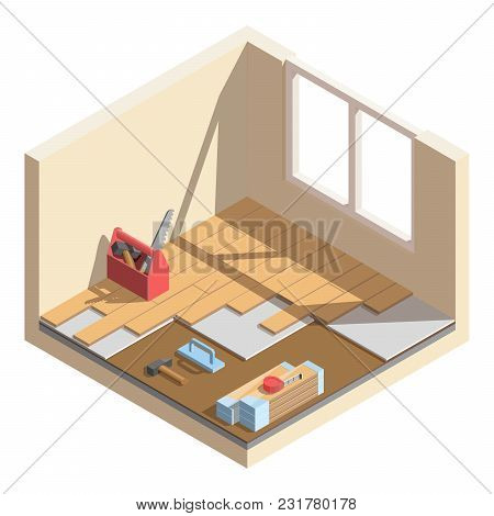 Isometric Low Poly Home Room Renovation Icon - Vector Illustration. Laying Of Laminate Or Parquet Bo