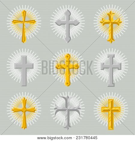 Golden And Silver Church Cross Icon Set Isolated On Grey Background Illustration. Christianity Relig