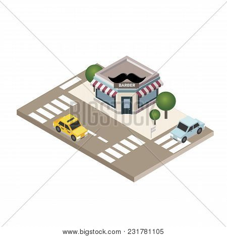 Vector Isometric Icon Representing Barbershop Building With Awning, And Neon Sign