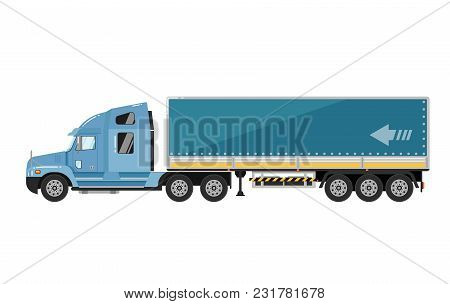 Commercial Freight Truck Isolated On White Background Illustration.