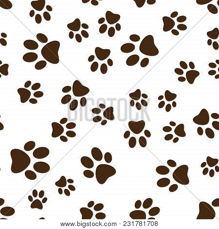 Cat Or Dog Brown Paw Prints Vector Seamless Pattern Or Background