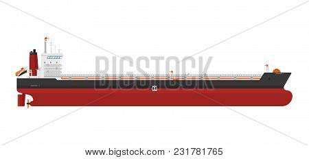 Cargo Ship Isolated On White Background Illustration. Freight Tanker Side View. Commercial Container
