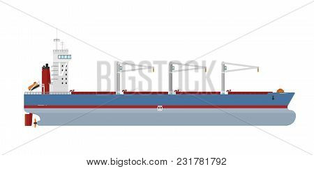 Cargo Ship With Cranes Isolated On White Background Illustration. Freight Tanker Side View. Commerci