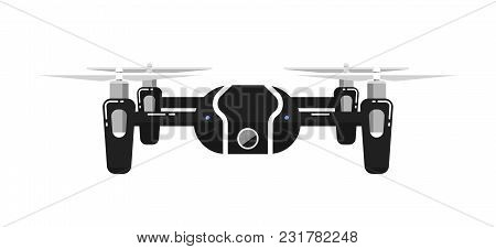 Drone In Flat Design Isolated On White Background. Flying Device