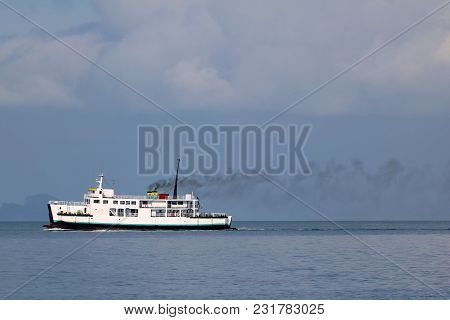 Ferry Sailing In The Sea And Pollution From The Engine,gulf Of Thailand.