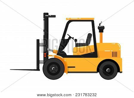 Yellow Forklift Truck Isolated On White Background Illustration. Construction Machine In Flat Design