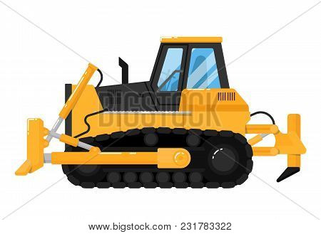 Yellow Crawler Bulldozer Isolated On White Background Illustration. Construction Digger Machine In F