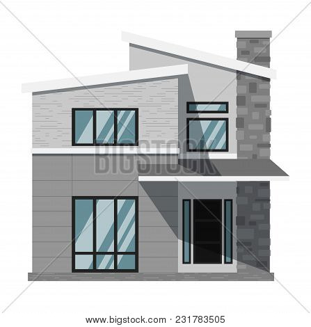 Exterior Of Two Stories Family Home Isolated On White Background. Vacation House. Real Estate Design