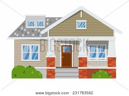 Exterior Of Family Home Isolated On White Background. Vacation House. Real Estate Design Element. Fa