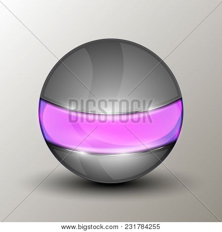 Vector Illustration Of The Metal Ball With The Purple Line