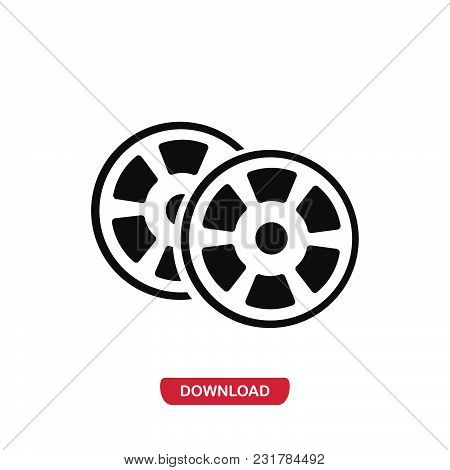 Movie Films Icon Vector In Modern Flat Style For Web, Graphic And Mobile Design. Movie Films Icon Ve
