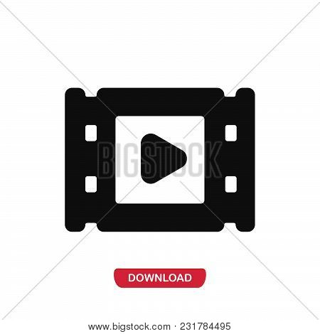 Video Icon Vector In Modern Flat Style For Web, Graphic And Mobile Design. Video Icon Vector Isolate
