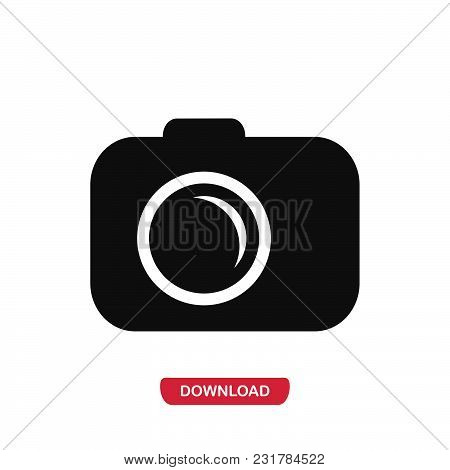 Camera Icon Vector In Modern Flat Style For Web, Graphic And Mobile Design. Camera Icon Vector Isola