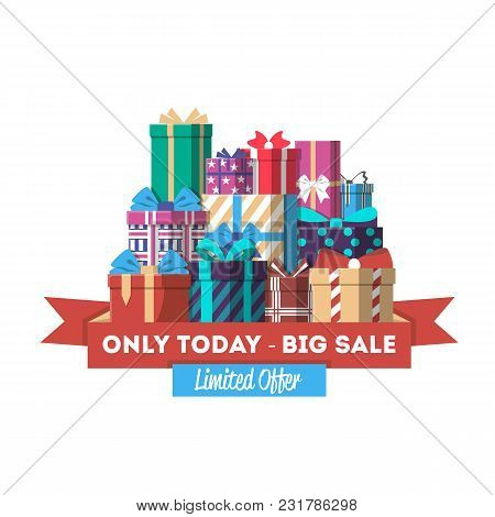 Big Sale Discount Banner With Gift Box Illustration. Bright Advertisement Retail Poster, Exclusive P