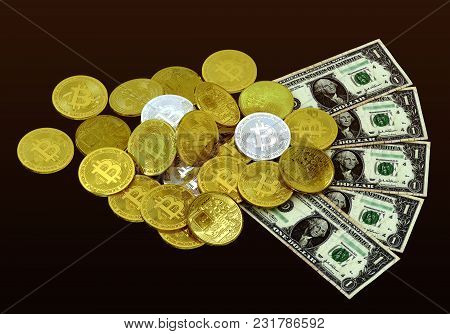 Bitcoin Golden Silver Money 3d Rendering Investment Profit Concept Isolated Background Include Clipp