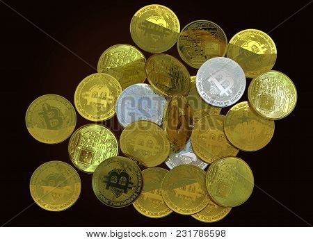 Bitcoin Golden Silver3d Rendering Investment Profit Concept Isolated Background Include Clipping Pat
