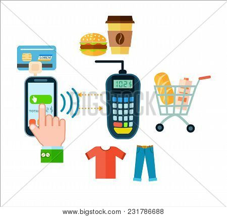 Online Food And Cloth Shopping Isolated Illustration. Mobile Payment, Money Transferring Via Smartph