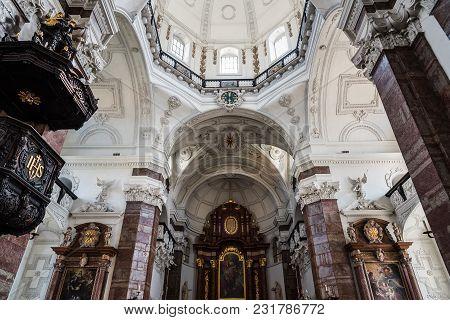 Innsbruck, Austria - August 9, 2017: Jesuitenkirche In Innsbruck Interior Low Angle View