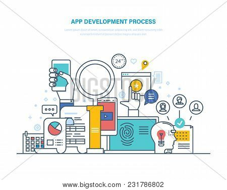 App Development Process. App Design, Programming, Coding, Web Design, Development Prototypes, Buildi