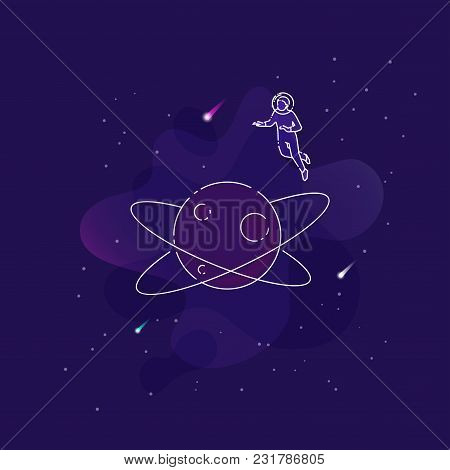 Vector Illustration Of An Astronaut Flying Over Planet In An Open Space On Dark Blue Background.