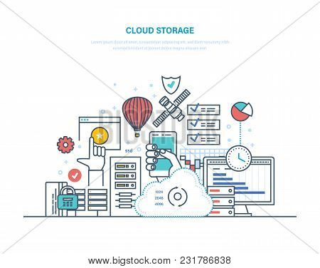 Cloud Storage Service. Security Of Data Storage Device. Internet Media Server, Web Hosting, Cloud Te