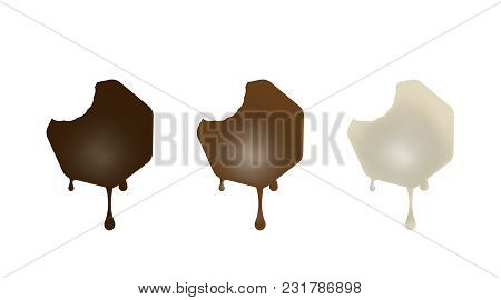 Collection Of Chocolate Baked In The Shape Of A Heptagon. Black, White, Milk. Vector Illustration.