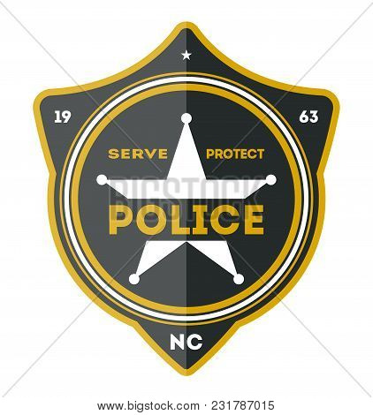 Police Department Badge Isolated On White Background Illustration. Federal Security Emblem, State De