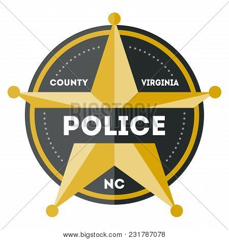 Policeman Sign With Golden Star Icon Isolated On White Background Illustration. Federal Security Emb