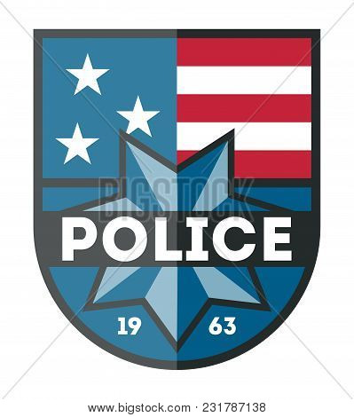 Usa Police Department Badge Isolated On White Background Illustration. Federal Security Emblem, Stat