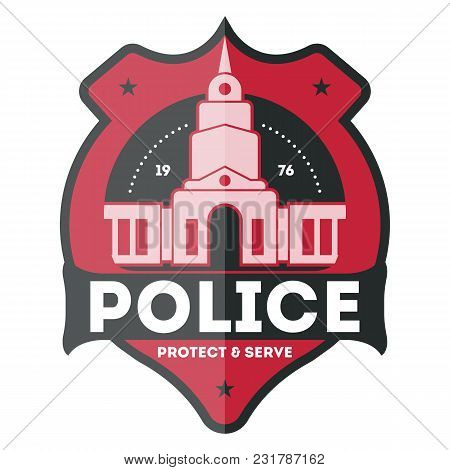 Police Law Enforcement Badge Isolated On White Background Illustration. Federal Security Emblem, Sta
