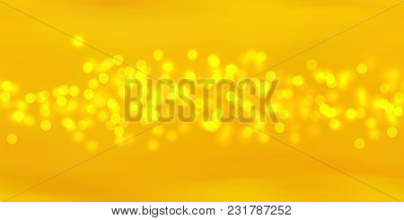Glow Bokeh Spray Background. Abstract Colorful Horizontal Hero Header With Glitter Particles With De