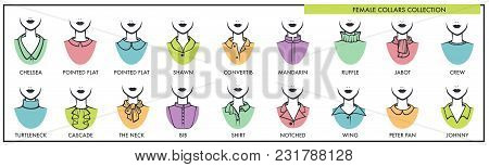 Female Collars For All Kinds Of Tops Collection With Names. Womens Fashion Elements For Casual And F