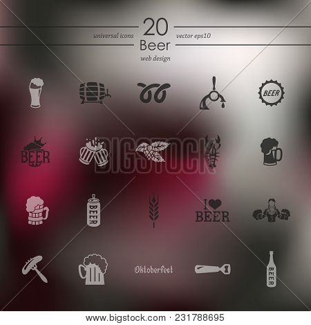 Beer Modern Icons For Mobile Interface On Blurred Background