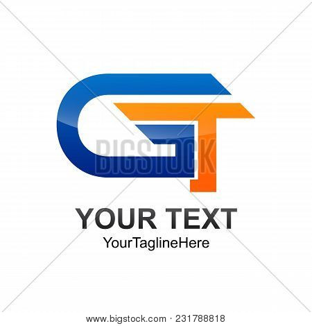 Initial Letter Gt Logo Template Colored Blue Orange Design For Business And Company Identity