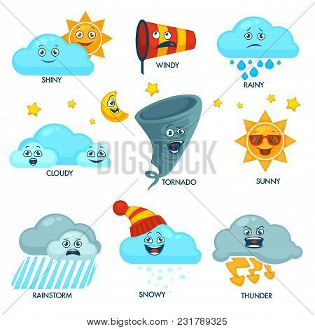 Weather Forecast Elements With Faces And Signs Set. Sun And Clouds With Emotional Faces. Strong Wind