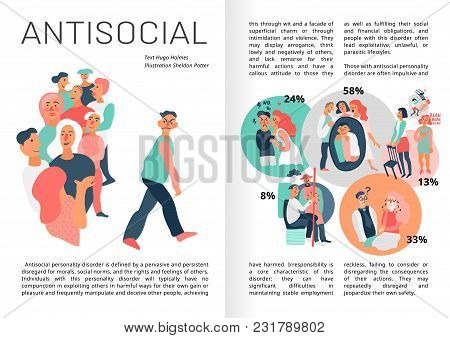 Sociopathy Infographics Book Pages With Statistics For Emotional Immunity, Aggressive Behavior, Prob