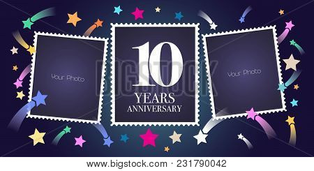10 Years Anniversary Vector Emblem, Logo. Template Design, Greeting Card With Photo Frame Collage On