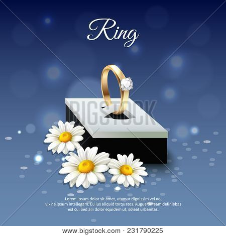 Colored Daisy Realistic Composition With Wedding Ring In A Blue Gift Box Vector Illustration