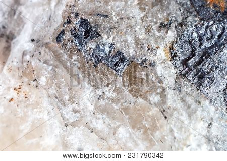 Macro Shooting Of Natural Gemstone. The Raw Mineral Galena, Morocco. The Texture Of The Stone. Abstr