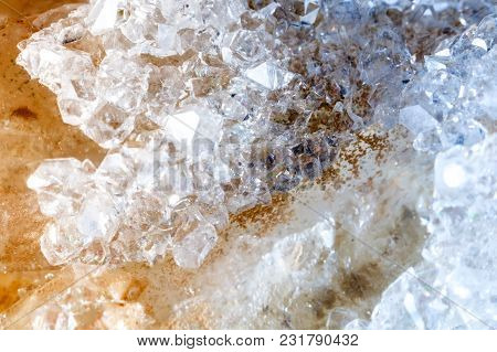 Macro Shooting Of Natural Gemstone. Raw Mineral Quartz.the Texture Of The Stone. Abstract Background