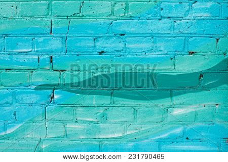Colorful (blue And Turquoise) Painted Brick Wall As Background, Texture