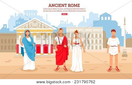 Ancient rome flat composition poster with imperial couple and plebeians citizens characters and pantheon in background vector illustration poster