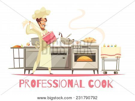 Professional Cook During Cake Making Composition On White Background With Kitchen Equipment And Culi