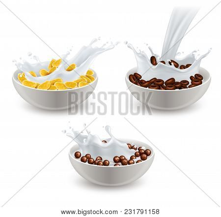 Set Of Realistic Breakfast Cereals In White Ceramic Bowls With Splashes Of Milk Isolated Vector Illu