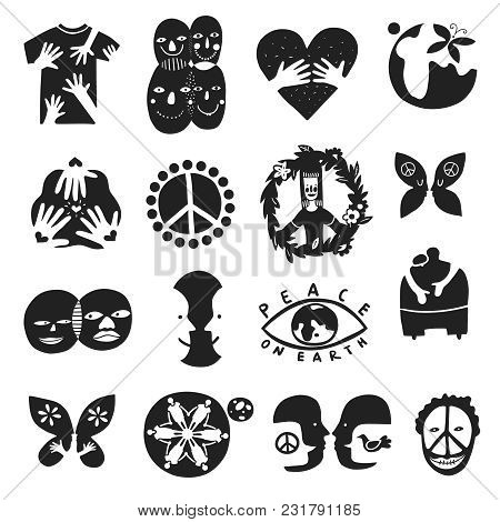 Set Of Monochrome International Friendship Symbols With Peace Sign, Brother, Children Of Earth, Equa