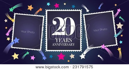 20 Years Anniversary Vector Emblem, Logo. Template Design, Greeting Card With Photo Frame Collage On