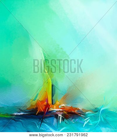 Abstract Colorful Oil Painting On Canvas Texture. Semi- Abstract Image Of Landscape Paintings Backgr