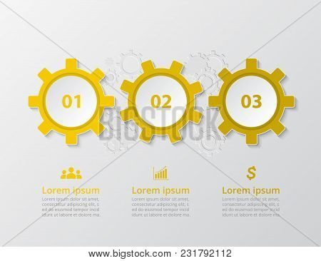 Step By Step Infographic. Template With 3 Numbers Can Be Used For Workflow Layout, Diagram, Chart, N
