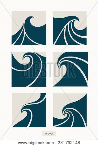 Set Water Wave Logo Abstract Design. Cosmetics Surf Sport Logotype Concept. Square Aqua Icon.